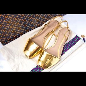 Size 7 gold Tory Burch flats